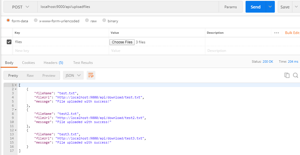 Test upload multiple files with postman